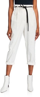 Brunello Cucinelli Pinstriped Stretch Cotton Trousers w/ Belt