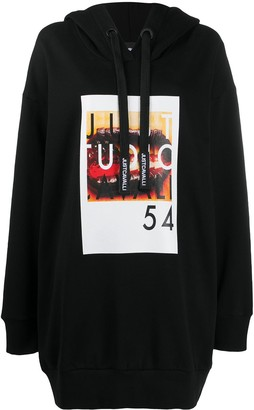 Just Cavalli Cotton Graphic Print Long-Line Hoodie