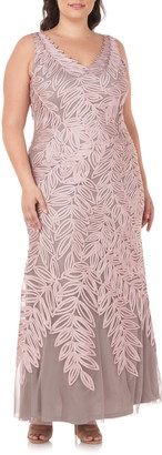 JS Collections Embroidered Leaf A-Line Gown