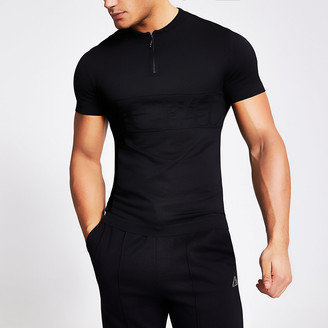 River Island MCMLX black half zip muscle fit knitted top
