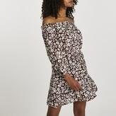 Thumbnail for your product : River Island Womens Brown long sleeve bardot mini dress