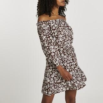 River Island Womens Brown long sleeve bardot mini dress