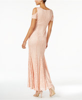 Night Way Nightway Petite Lace Cold-Shoulder Gown
