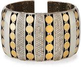 John Hardy Dot 18k & Silver Pave Diamond Cuff Bracelet