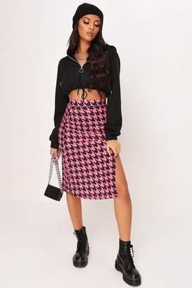 I SAW IT FIRST Pink Dogstooth Print Split Front Midi Skirt