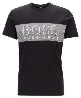 Crew-neck T-shirt in cotton with fineline logo artwork