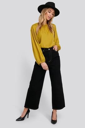 Trendyol Stitching Detailed High Waist Wide Leg Jeans Black