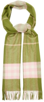 Burberry Checked Cashmere Scarf - Womens - Green Multi
