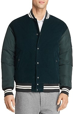 Moncler Exmoor Mixed-Media Down Bomber Jacket
