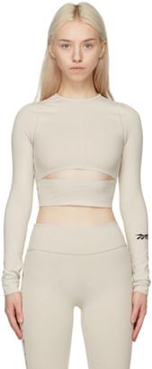 Reebok x Victoria Beckham Beige Logo Crop Long Sleeve Sport Top