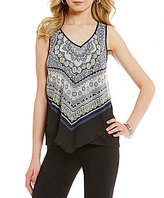 I.N. San Francisco Scarf Print V-Neck Asymmetrical Border Hem Top