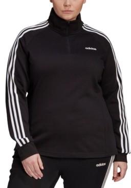 adidas Essentials Women's Plus Size 3 Stripe Fleece Quarter-Zip