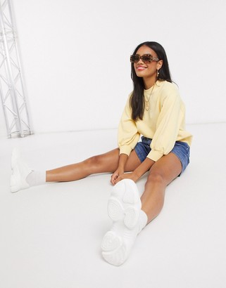 ASOS DESIGN boxy sweat with wide sleeve in yellow
