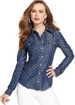 GUESS by Marciano GUESS Top, Long-Sleeve Dot-Print Shirt