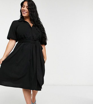 ASOS DESIGN Curve wrap shirt midi skater dress with self belt in black