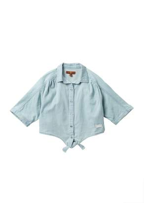 7 For All Mankind The Front Tie Raglan Sleeve Top (Little Kids)