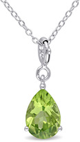 Julianna B 2 CT TW Peridot Sterling Silver Teardrop Enhancer Pendant Necklace