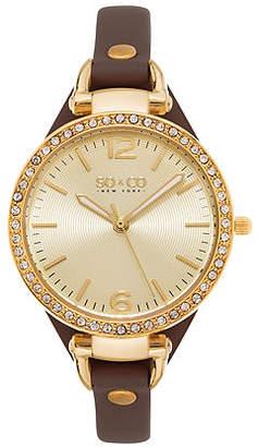 So & Co SO & CO NY Womens Soho Ultra Thin Genuine Leather Strap With Gold-Tone Dial & Crystal Filled Bezel Quartz Watch J155P32 Family