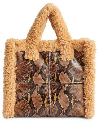 Stand Studio Medium Lolita Faux Shearling-Trimmed Snakeskin-Embossed Tote