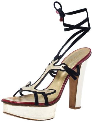 DSQUARED2 2 Blue Suede/Leather Arrow Ankle Wrap Platform Sandals Size 38