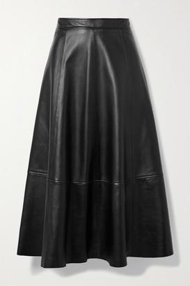 Co Paneled Leather Midi Skirt - Black