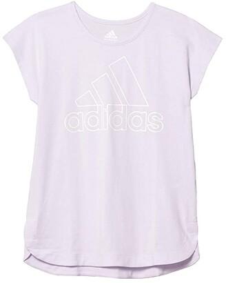 adidas Kids Slit Tee (Big Kids) (Grey/Blue) Girl's Clothing