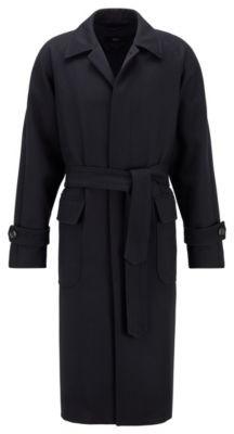 HUGO BOSS Relaxed Fit Belted Coat In A Herringbone Wool Blend - Dark Blue