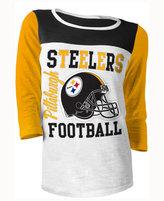 5th & Ocean Women's Pittsburgh Steelers Three-Quarter Glitter T-Shirt