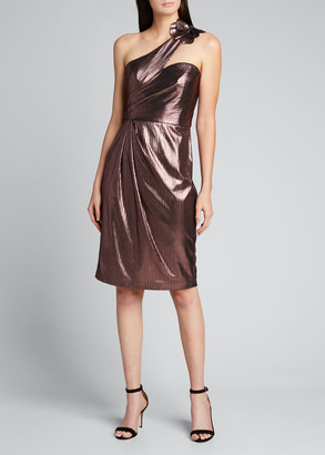 Marchesa Notte Metallic Lame One-Shoulder Draped Cocktail Dress