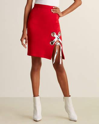 Au Jour Le Jour Lace-Up Sweatshirt Skirt