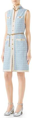 Gucci Sleeveless Short-Tweed Dress with Chain Belt