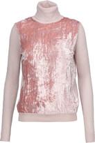 Nina Ricci Velvet-paneled merino wool-blend turtleneck sweater