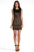 Tracy Reese Zebra/Ocelot Stretch Jacquard Combo Shift With Leather Dress