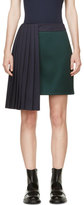 Mary Katrantzou Evergreen & Navy Pleat Jumbar Skirt