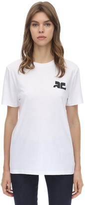 Courreges Logo Cotton Jersey Top