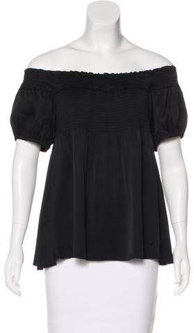 Chanel Silk Off-The-Shoulder Top