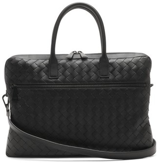 Bottega Veneta Intrecciato Leather Briefcase - Mens - Black