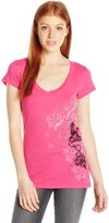 Metal Mulisha Junior's Dani G Cherry Blossom V Neck Graphic Tee