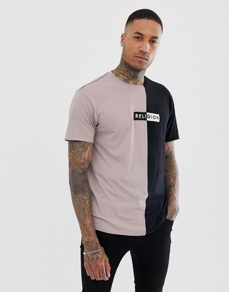 Religion splice t-shirt with logo in black and dusty pink