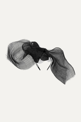 Gigi Burris Millinery Net Sustain Nuage Bow-detailed Sinamay Straw And Grosgrain Fascinator - Black