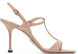 Prada Crocodile-effect Leather Sandals - Womens - Nude
