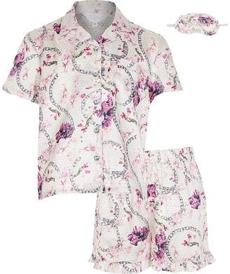 River Island Girls pink floral satin boxed pyjamas