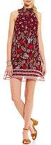 Jodi Kristopher Mock Neck Floral Print Shift Dress