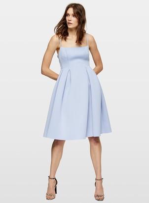 Miss Selfridge Blue Square Neck Scuba Midi Dress