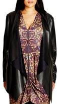City Chic Faux Leather Drape Front Jacket (Plus Size)