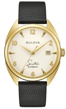Bulova Men's Frank Sinatra Automatic Black Leather Strap Watch 39mm