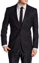 English Laundry Trim Fit Black Printed Two Button Notch Lapel Sport Coat