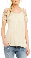 Miss Me Short-Sleeve Lace Back Top