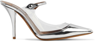 Tabitha Simmons Allie Pvc-trimmed Mirrored-leather Mules