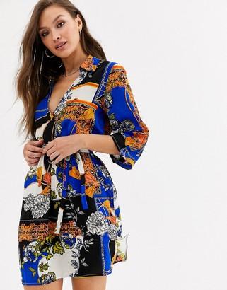 AX Paris v neck shirt dress in chain print